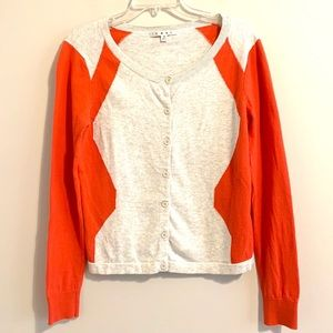 CAbi Lightweight Gray and Orange Cardigan Sweater